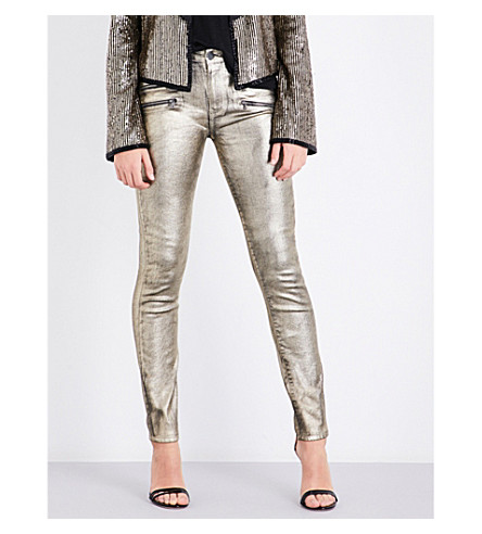 ROSIE HW X PAIGE Stevie coated skinny high-rise jeans (Champagne+galaxy+coating