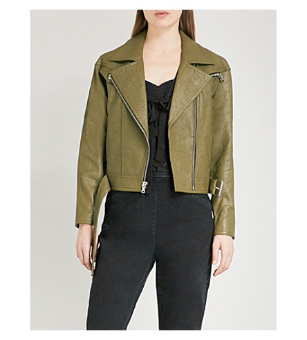 PAIGE Sivan leather jacket (Spring+moss