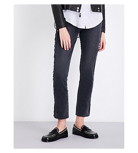 PAIGE Julia frayed-hem straight high-rise jeans (Midnight+racer