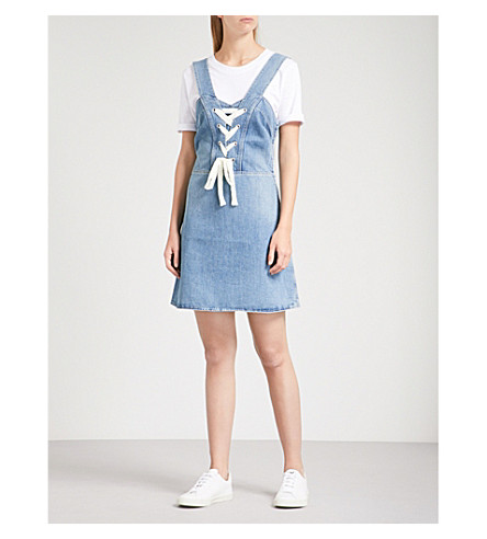 PAIGE Tule lace-up denim mini dress (Nolita