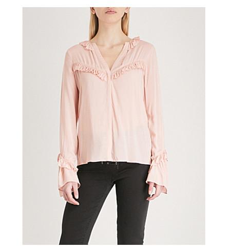 PAIGE Montel ruffled-trim woven blouse (Misty+rose