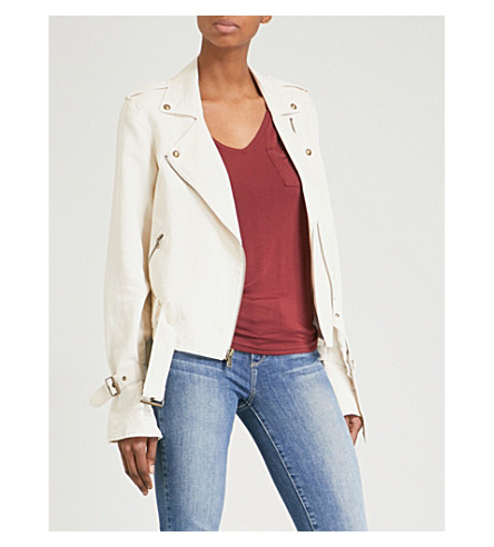 PAIGE Rhoda cotton-blend biker jacket (Papyrus