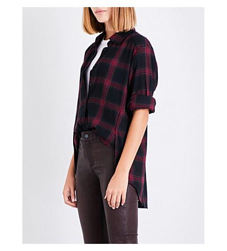 PAIGE DENIM Clemence checked cotton-blend shirt (True+black/dark+magenta