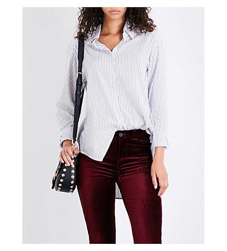 PAIGE DENIM Clemence striped-pattern cotton shirt (Black+/+white+stripe