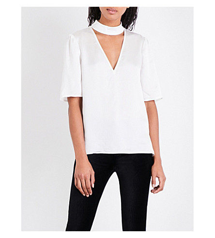 PAIGE Cateline hammered-silk top (White