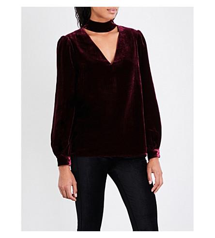 PAIGE DENIM Tamar velvet blouse (Dark+rouge