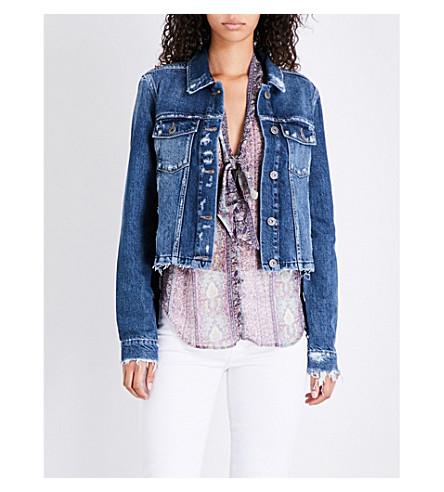 PAIGE DENIM Villa cropped frayed-edge denim jacket (Alanza