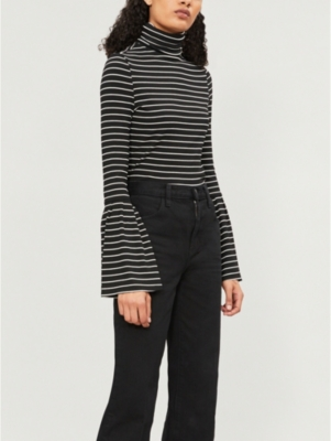 Ladies Black And White Stripe Kenzie Striped Stretch-Modal Top in Black/White Stripe
