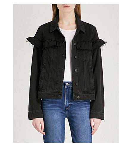 PAIGE Heidi ruffle-detail denim jacket (Nightingale+black