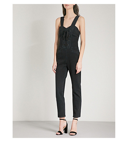 PAIGE Tula lace-up straight-leg denim jumpsuit (Vintage+noir