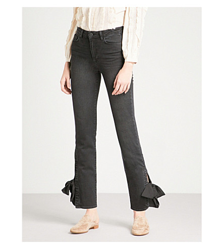 PAIGE Jacqueline tapered mid-rise jeans (Mystic+black