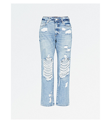 PAIGE Noella distressed relaxed-fit mid-rise jeans (Jovie+destructed