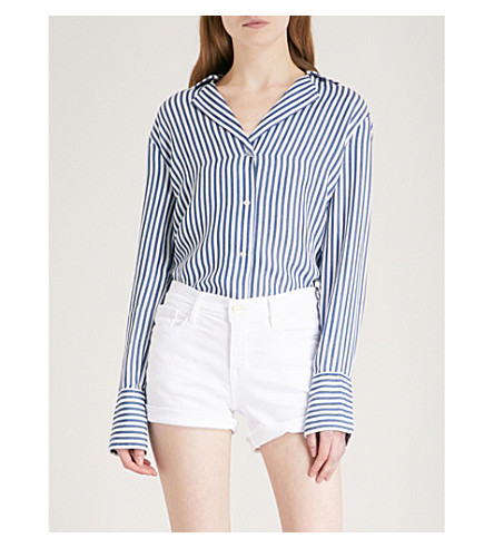 PAIGE Elora striped woven shirt (White/blue+bell+stripe