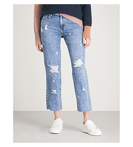 PAIGE Noella raw-hem straight mid-rise jeans (Westlyn+destructed