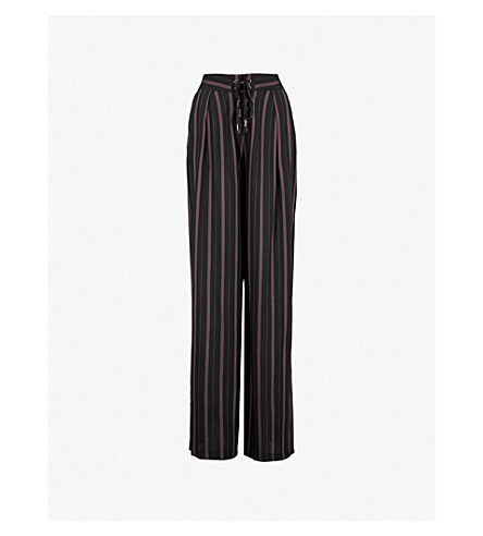 PAIGE Capucine striped high-rise crepe wide-leg trousers (Blk/ck+curnt