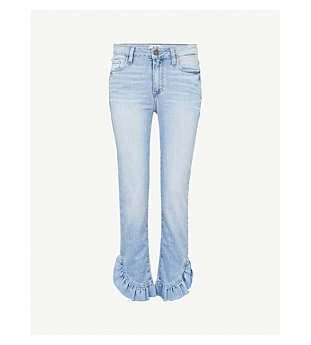 "PAIGE Hoxton Straight 27"" ruffled-hem high-rise jeans (Lumina+mini+ruff"
