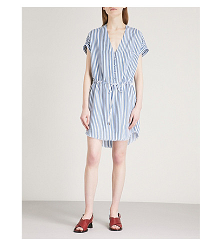 PAIGE Haidee striped chambray dress (White/blue+bell+stripe