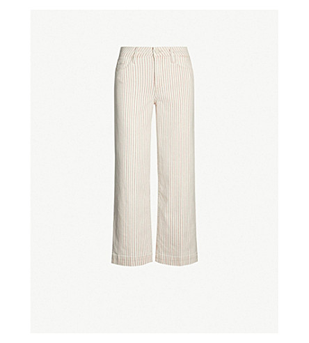 PAIGE Nellie mid-rise striped straight-leg jeans (Blossom pink stripe