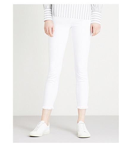 PAIGE Hoxton Ankle frayed-hem skinny high-rise jeans (Crisp+white