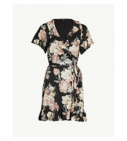 PAIGE Cardamom floral-print poplin mini wrap dress (Black/evening sand