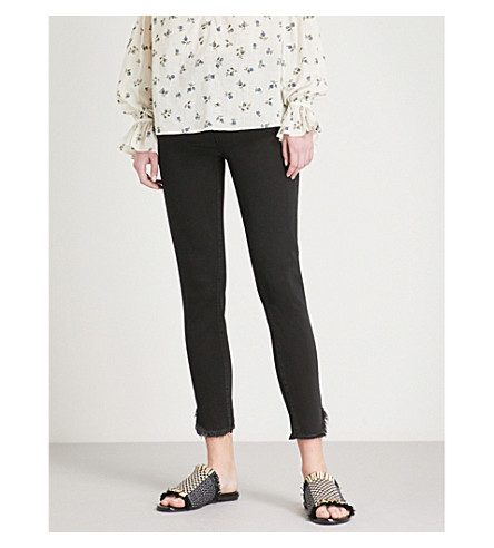 PAIGE Margot frayed-hem skinny high-rise jeans (Draco