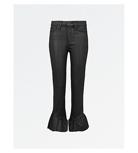 PAIGE Hoxton ruffled-hem flared high-rise jeans (Black+fog+luxe+coating