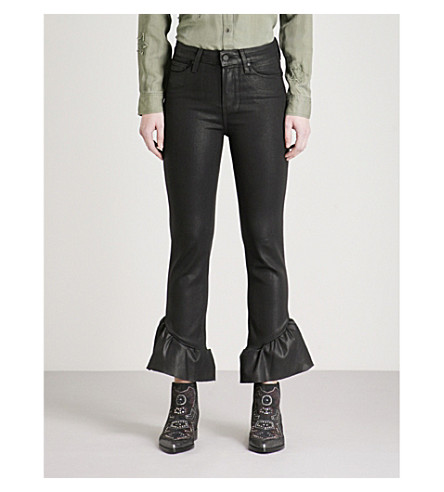 PAIGE Hoxton ruffled-hem flared high-rise jeans (Black+fog+luxe+coating