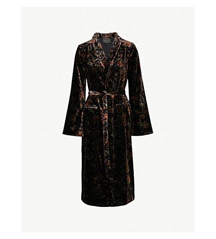 PAIGE Chrystin floral-pattern velvet jacket (Black/golden+sky