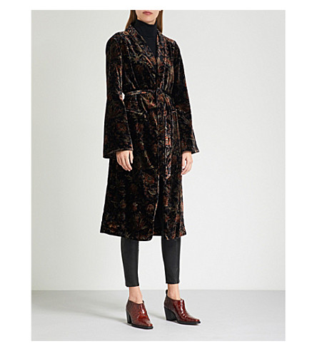 PAIGE Chrystin floral-pattern velvet jacket (Black/golden+sky