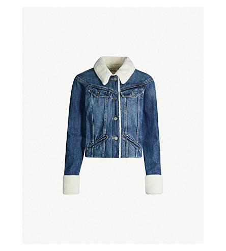 PAIGE Tori faux shearling-lined stretch-denim jacket (Monrose