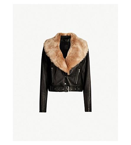 PAIGE Rizza faux-fur trimmed leather jacket (Black