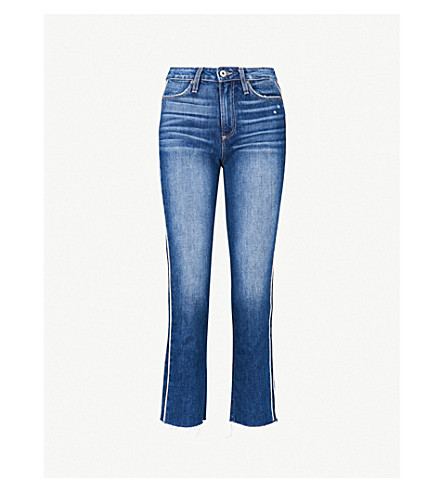 PAIGE Hoxton striped-side straight cropped high-rise jeans (Indigo/cream