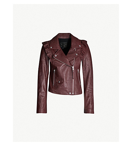 PAIGE Annika leather biker jacket (Dark current