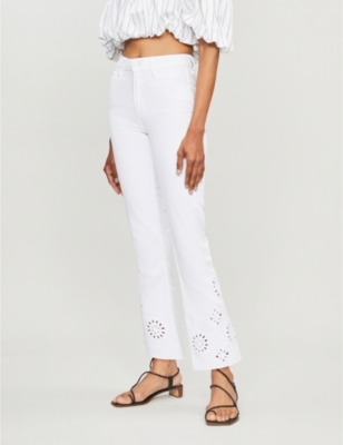 Colette high-rise floral-cutout flared jeans