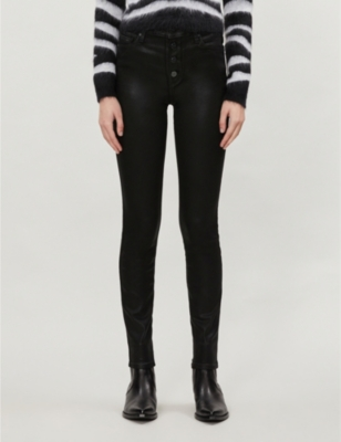 Hoxton skinny high-rise cotton-blend coated trousers