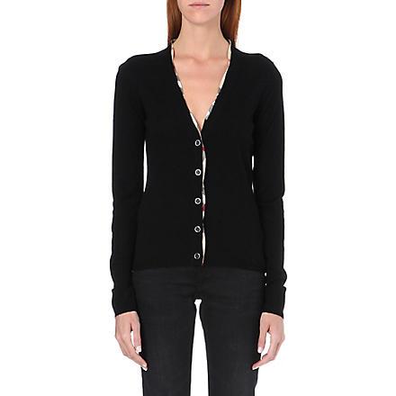 BURBERRY Checked-trim wool cardigan (Black