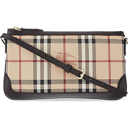 BURBERRY Checked leather shoulder bag (Chocolate