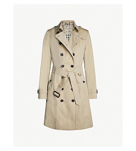 BURBERRY Sandringham double-breasted cotton-gabardine trench coat (Honey