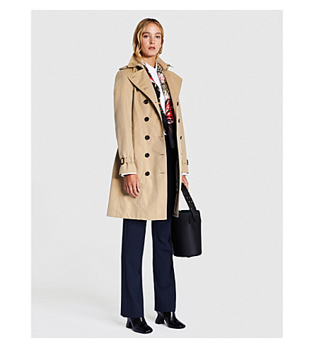 BURBERRY Sandringham double-breasted cotton-gabardine trench coat (Honey