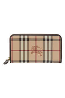 BURBERRY Haymarket zippy zip around wallet