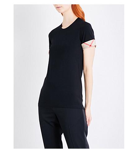 BURBERRY Check-trim stretch-cotton T-shirt (Black