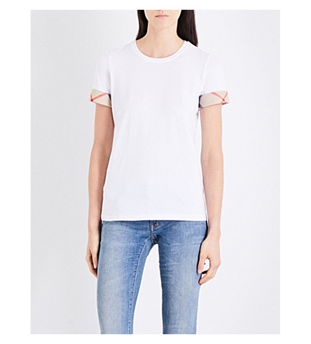 BURBERRY Checked-cuffs cotton-jersey T-shirt (White