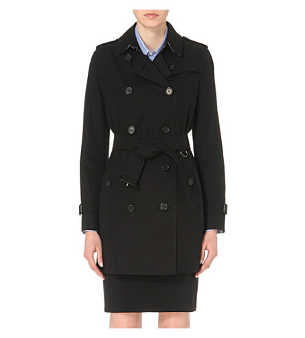 BURBERRY The Kensington mid-length cotton-gabardine trench coat (Black