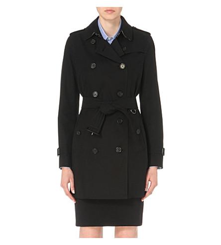 BURBERRY The Kensington mid-length cotton-gabardine trench coat (Black