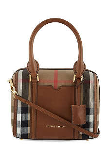 BURBERRY Checked cotton-canvas bowling bag