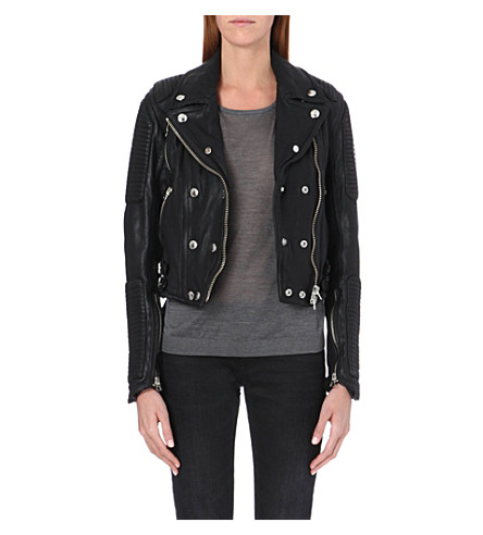 BURBERRY Loseley leather biker jacket (Black