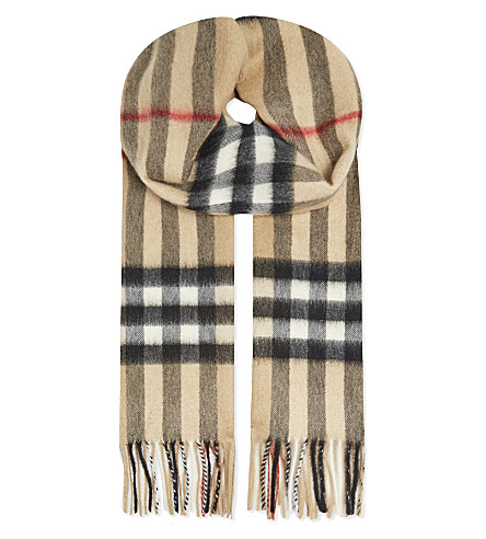 BURBERRY Large check cashmere scarf (Camel