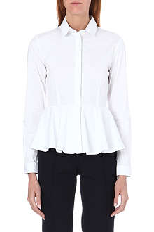 BURBERRY Peplum-waist stretch-cotton shirt