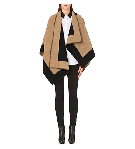 BURBERRY Checked wool and cashmere-blend blanket cape (Camel