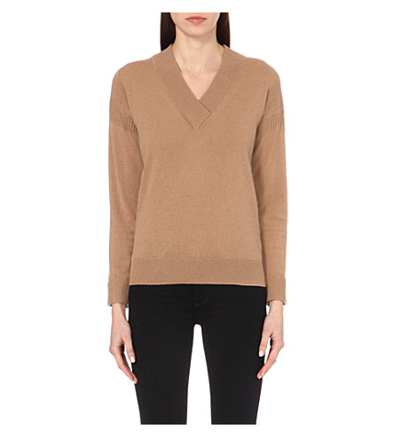 BURBERRY V-neck cashmere jumper (Camel